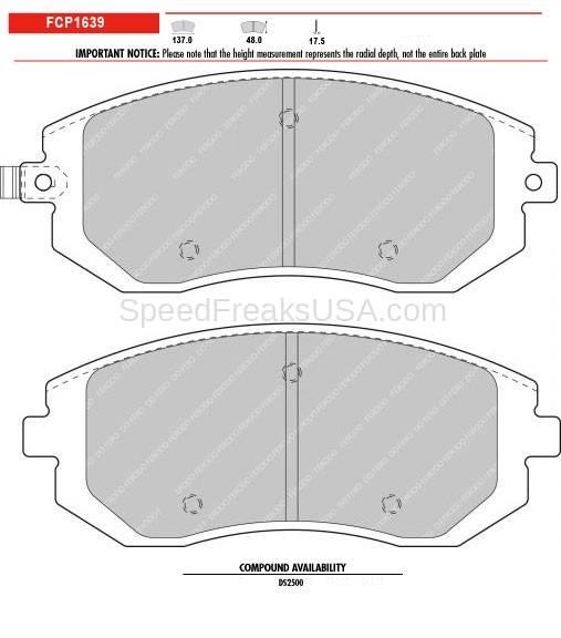 Ferodo DS2500 FCP1639H Subaru BRZ Scion FR-S Front Brake Pads