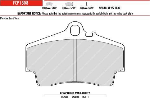 Ferodo DS1.11 FCP1308W Porsche Rear