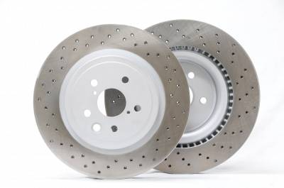 Brake Rotors One-piece  - One-Piece Front Rotors - Project Mu  - Project Mu Club Racer PCRLXDF9305 Lexus IS-F Front Drilled Rotors CL Special