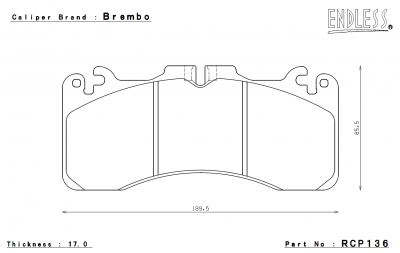 Lexus - GS F - Endless  - Endless Brake Pads RCP136 MX72 Lexus RC F / GS F Front