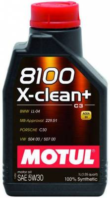 Motor Oil and Fluids - Motor Oil - Motul  - 8100 5W30 X-CLEAN+ c3 - Approvals - BMW LL-04 / MB 229.51 / Porsche C30 / VW 504 00 / 507 00  - (5L)