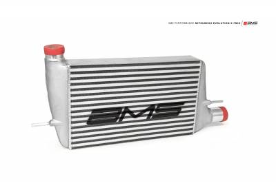 Featured Vehicles - Mitsubishi - AMS EVO X Front mount intercooler with modular cast end tanks 2008+ With Logo
