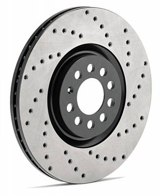 Brake Rotors One-piece  - One-Piece Front Rotors - StopTech - StopTech SportStop Drilled Rotors Front Right Jaguar XFR