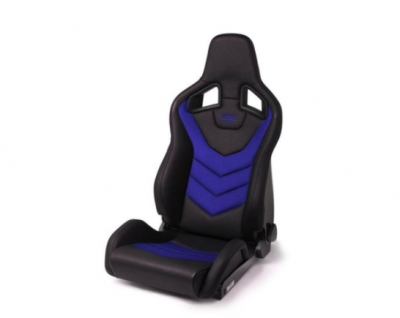RECARO SPORTSTER GT WITH SUB-HOLE (RIGHT SIDE) - VINYL BLACK BLUE SUEDE