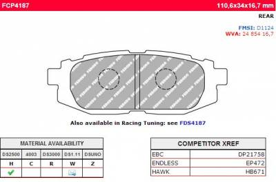 Subaru - WRX/STi - Ferodo  - Ferodo DS2500 FCP4187H Subaru BRZ Scion FR-S Rear Brake Pads